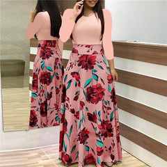 2018 summer new women's flowers, prints, coloured dress, long skirts L pink  Long sleeve