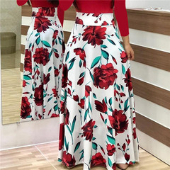 2018 summer new women's flowers, prints, coloured dress, long skirts L red Long sleeve