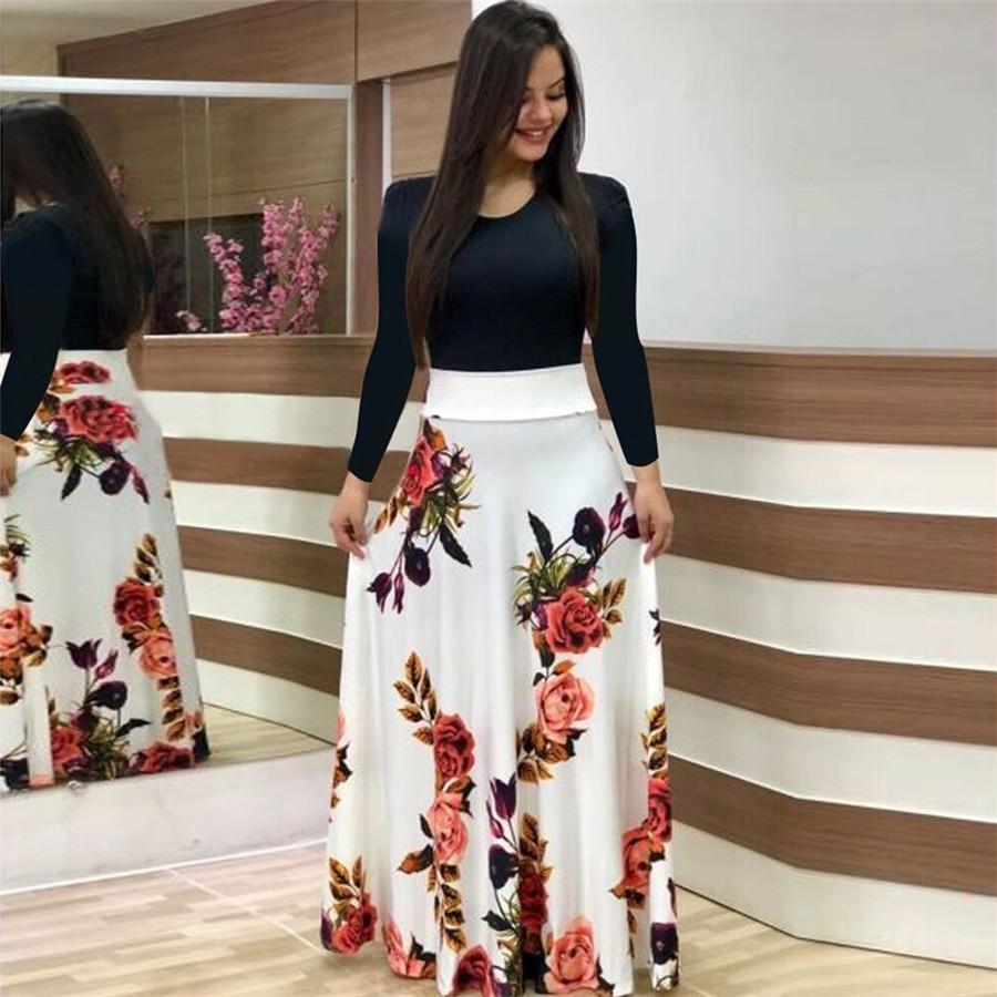 2018 summer new women's flowers, prints, coloured dress, long skirts XXL green Long sleeve 22