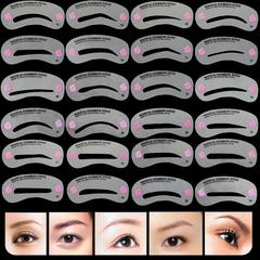24 Pcs Thrush Card Reusable Eyebrow Stencil Set Eye Brow Grooming Template Easy Makeup Beauty Kit white