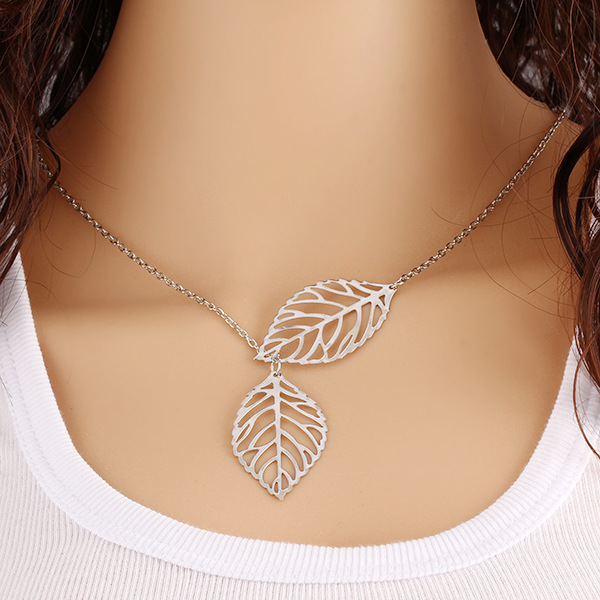 3fac278179087 Gold Silver Plated Chain Necklace Leaf Beads Long Strip Pendants Gifts  Women Necklaces Jewelry Silver As shown