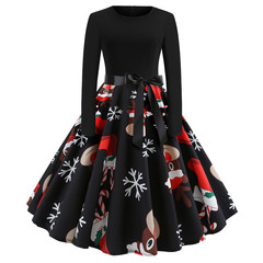 Christmas cartoon anime round neck print long sleeve large dress S 20#