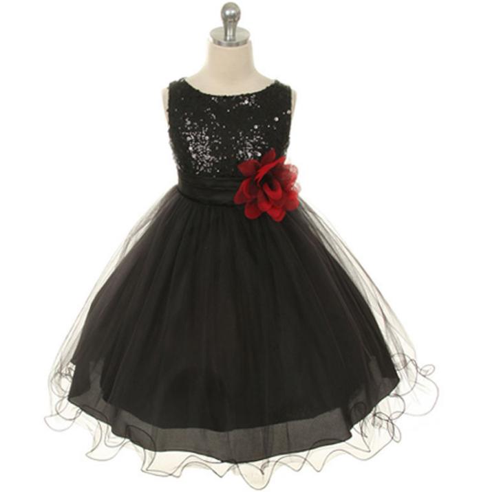d0b0b5451288a 11 color girls dress children's sequins long skirt dress flower belt mesh  tutu dress black 150cm