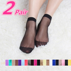 2 Pair Set New Ultrathin Ladies Transparent Invisible Crystal Socks Sexy Stockings For Women Gift light beige#1 Elastic
