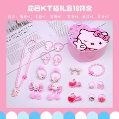 Girl's Necklace Bracelet Hairpin Ring Earring Set Cute Pink Christmas Gift picture1 onesize