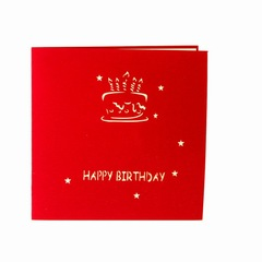 Birthday Cake Postcard Greeting Gift Cards Blank Paper 3D Handmade Birthday Party Invitation red normal