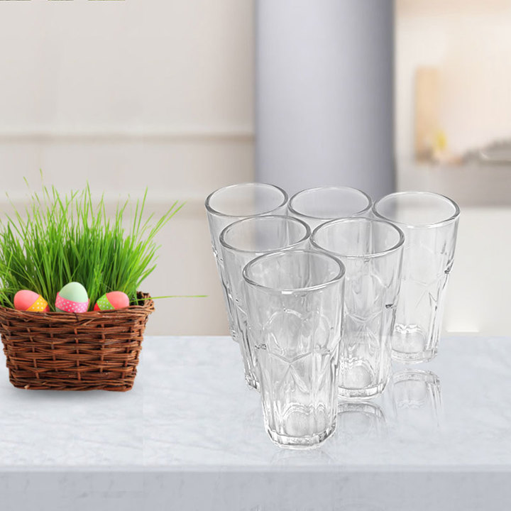 Sundabests 6pcs High Quality Spiral Glass Glassware Cup(130001089) as the picture 6pcs