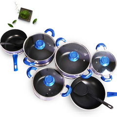 Sundabests 10pcs( 4pcs sauce pot with glass cover +1pcs sauce pan+1 pcs wok) Non-stick Cookware Set as the picture 10pcs