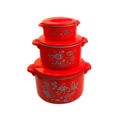 Sundabests 4pcs High Quality Hot Pot Serving Bowls Stainless Steel Inner(130007301) red 4 pcs