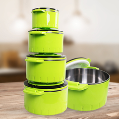 Sundabests 4pcs High Quality Hot Pot Serving Bowls Stainless Steel Inner Casserole(130008042 ) green 4 pcs