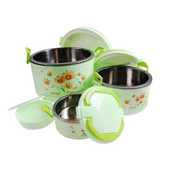 SUNDABESTS 4 In 1 Food Flask Stainless Steel Inner(130007268) green 4 pcs