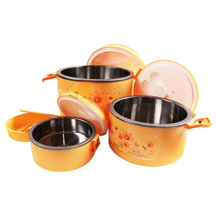 SUNDABESTS 4 In 1 Food Flask Stainless Steel Inner(130007268) orange 4 pcs