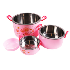SUNDABESTS 4 In 1 Food Flask Stainless Steel Inner(130007268) pink 4 pcs