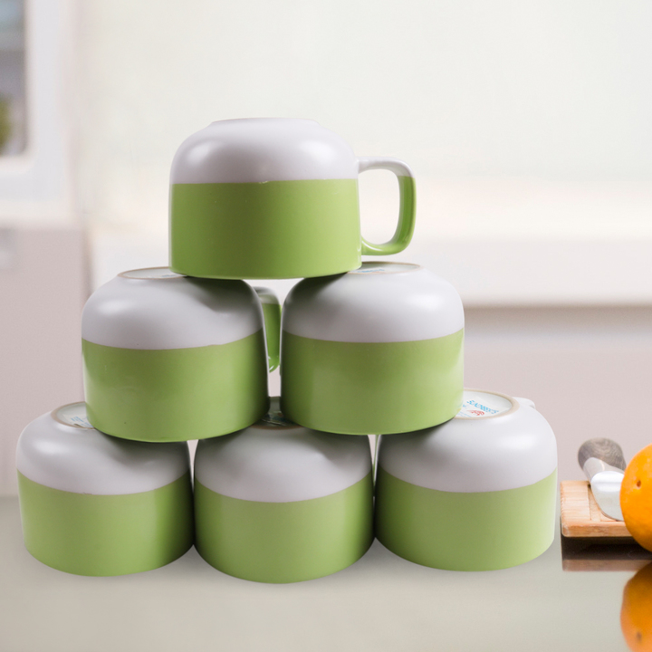 Sundabests 6pcs Ceramic Cups High Quality Affordable Tea ,Milk , Coffee Ceramic Cups(130010994) green&white 6pcs