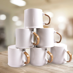 Sundabests 6pcs white Ceramic Affordable High Quality Tea Milk Coffee Ceramic Cups(130011090) white&brown 6pcs