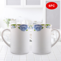 Sundabests 6pcs white Ceramic Affordable High Quality Tea Milk Coffee Ceramic Cups(130008888) blue&white one size