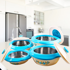 Sundabests 4pcs High Quality Hot Pot Serving Bowls Stainless Steel Inner(130008040) blue 4 pcs