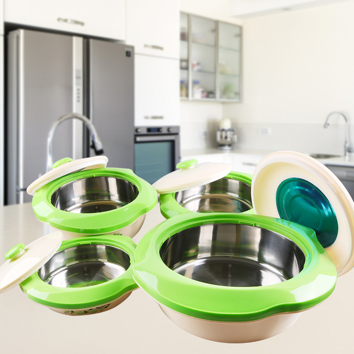 Sundabests 4pcs High Quality Hot Pot Serving Bowls Stainless Steel Inner(130008040) green 4 pcs