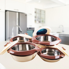 Sundabests 4pcs High Quality Hot Pot Serving Bowls Stainless Steel Inner(130008040) brown 4 pcs