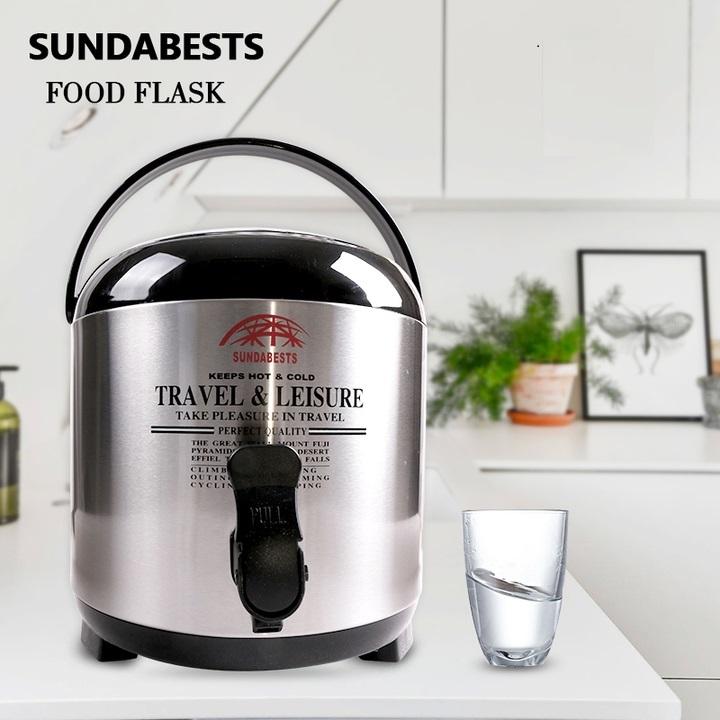 SUNDABESTS 7.7L Food Flask Travel Leisure Keep Hot Cold (130007992) silver 7.7L