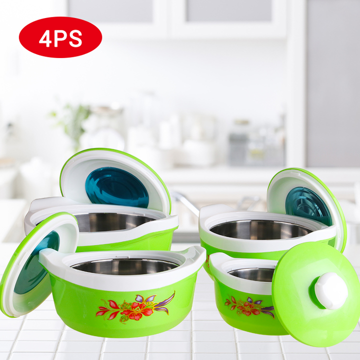 SUNDABESTS 4Pcs Insulated Casserole Hot Pot Serving Dishes (130005543) green 0.5l, 1l, 1.8l, 2.8l