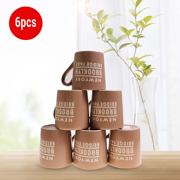 Sundabests 6pcs High Quality Tea Milk Coffee Ceramic Cups(130012400) brown one size
