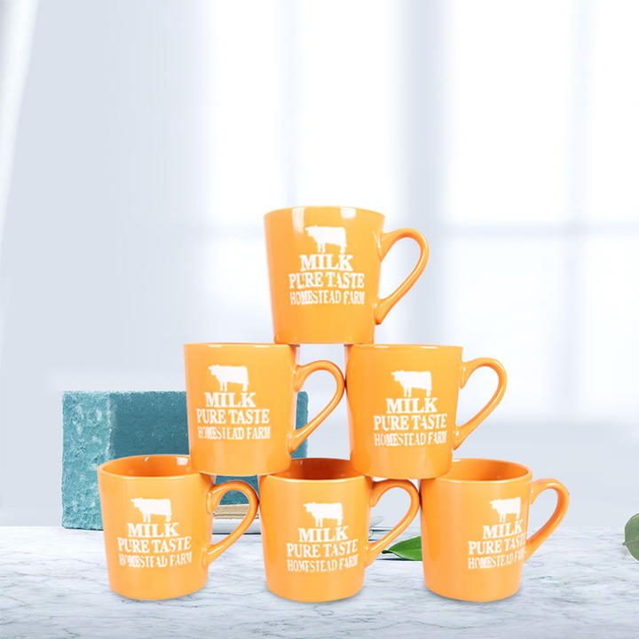 Sundabests 6pcs High Quality Tea Milk Coffee Ceramic Cups(130012400) orange one size