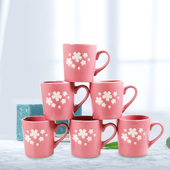 Sundabests 6pcs High Quality Tea Milk Coffee Ceramic Cups(130012400) pink one size