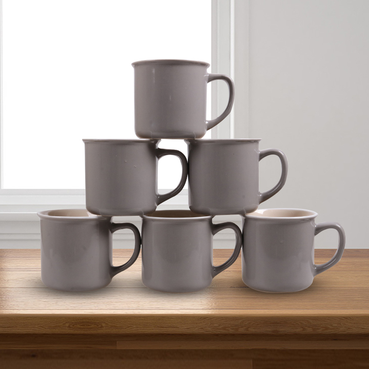 Sundabests 6pcs High Quality Tea Milk Coffee Ceramic Mug Cups(130012409) light grey one size