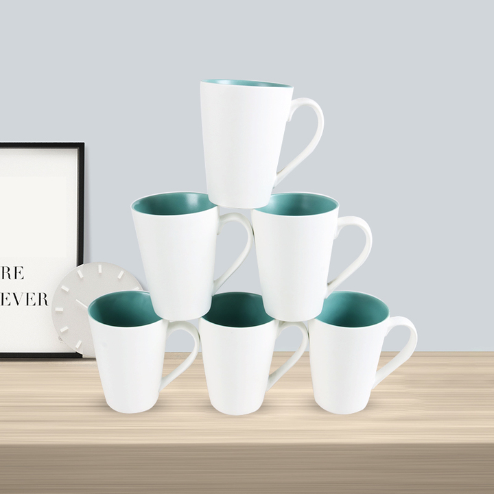 Sundabests 6pcs Ceramic High Quality Tea Milk Coffee Ceramic Mug Cups(1300011677,1300012089) 6pcs green&white one size