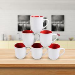 Sundabests 6pcs High Quality Tea Milk Coffee Ceramic Mug Cups(130012384) red&white one size