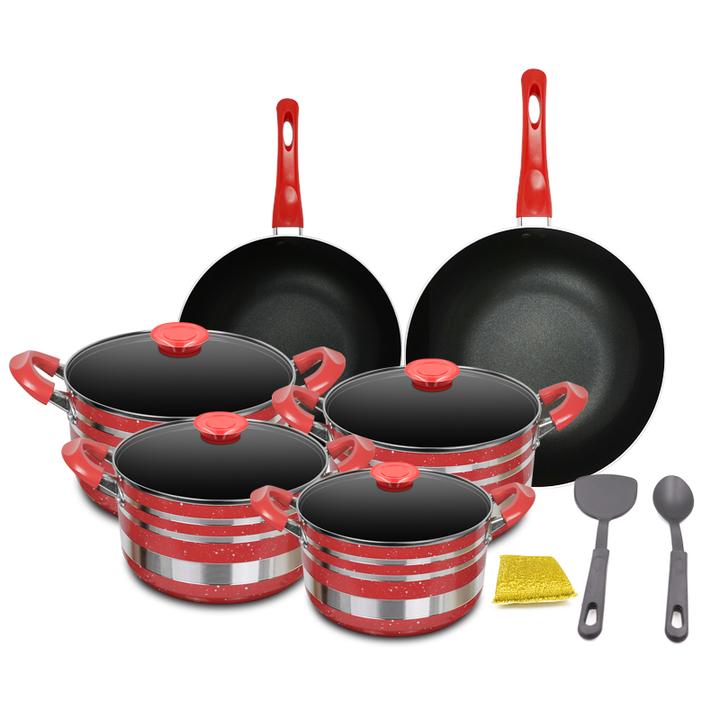 Sundabests 10pcs High Quality Non-stick Cookware High Sauce Pot Set(130008068) red 10pcs