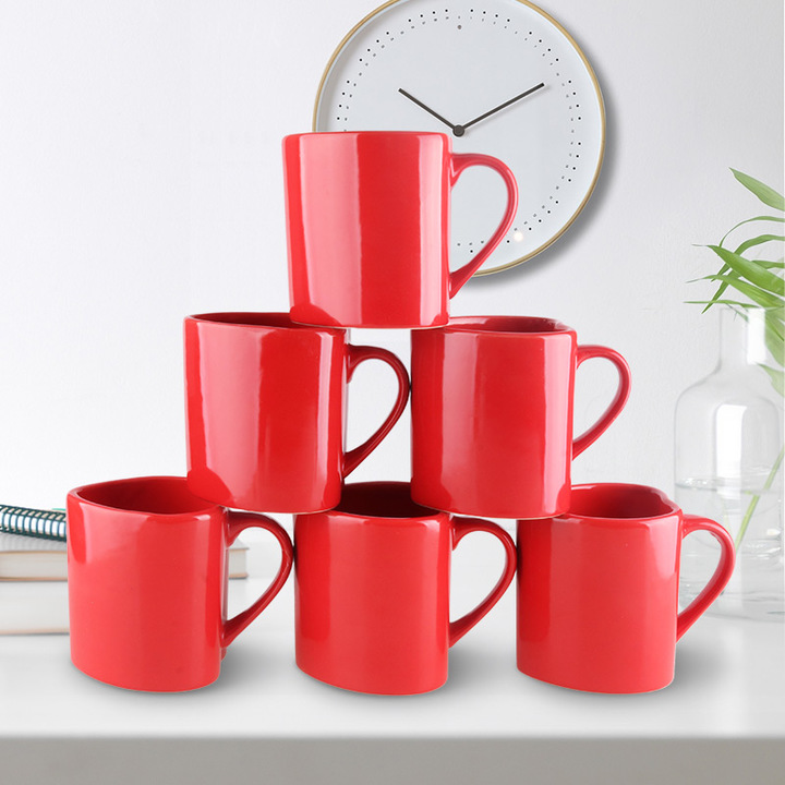 Sundabests 6pcs High Quality Tea Milk Coffee Ceramic Mug Cups(130012452,130012456) red 2 one size