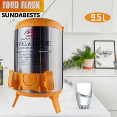 SUNDABESTS 9.5L Food Flask Travel Leisure Keep Water Catering Coffee/Tea Hot Cold (130007492) orange 9.5L