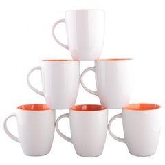 Sundabests 6pcs High Quality Tea Milk Coffee Ceramic Cups(130011997) white&orange 6pcs