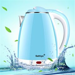 Sathiya Electric Kettle 2.0L Double-layer VDE 2 Plug 220-240V ironing Kettle blue&white