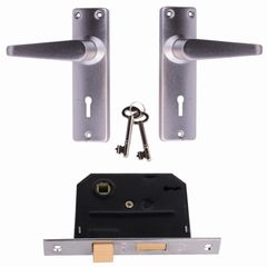 Door Lock Set Bedroom Handle Lockset & Keys for Home Security(180003472) silver 15 cm