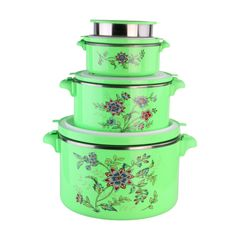 Sundabests 4pcs High Quality Hot Pot Serving Bowls Stainless Steel Inner(130013089) green 4 pcs