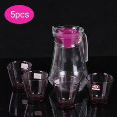 Sundabests 5pcs Drinking Beverage Set Glasses Cups(4pcs Glasses & 1pcs 1.5L Pitcher Jug)(130017399) purple 5pcs