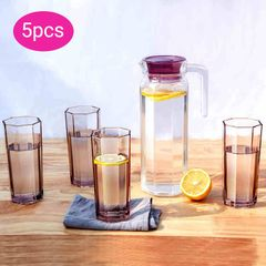 Sundabests 5pcs Drinking Beverage Set Glasses Cups(4pcs Glasses&1pcs 1.14L Pitcher Jug)(17398,17400) purple 5pcs