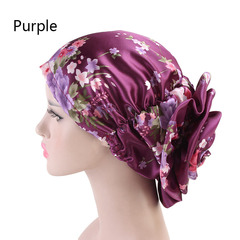 Women's Fashion Imitated Silk Headband Spring Flower Hat Ladies New Fashion Turban purple