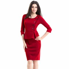 Office Lady Fashion Flouncing Spring Autumn Dresses Europe Style Cotton Fabric Long Sleeve Plus Size s red