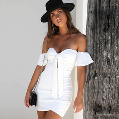 Off Shoulder Strapless Sexy Ruched Summer Dress Women Bow Knot Backless Dress Short Sleeve Bodycon xl white