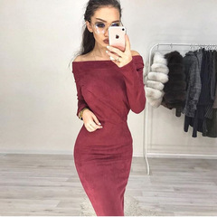 Suede Long Sleeve off shoulder Women mid-calf Dress Autumn Winter Female sexy Bodycon  party Dresses l win red