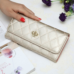 Womens Wallets Plaid PU Leather Long Wallet Phone Bag Money Coin Pocket Card Holder Female Purse sliver 19*10*2.5cm
