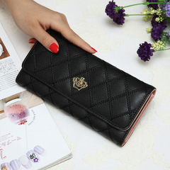 Womens Wallets Plaid PU Leather Long Wallet Phone Bag Money Coin Pocket Card Holder Female Purse black 19*10*2.5cm