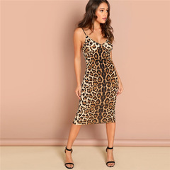 New Promotion Sexy Party Backless Leopard Print  Pencil Skinny Club Dress Autumn Night Out Dresses xl leopard