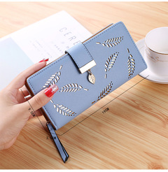 Ladies Wallets Fashion Leaf PU Leather Long Wallet Phone Bag Money Pocket Card Holder Female Purse blue 19*9.5*3.5cm