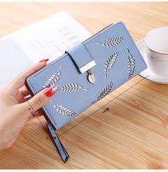 Ladies Wallets Fashion Leaf PU Leather Long Wallet Phone Bag Money Pocket Card Holder Female Purse blue 19*9.5*3.5cm