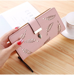 Ladies Wallets Fashion Leaf PU Leather Long Wallet Phone Bag Money Pocket Card Holder Female Purse pink 19*9.5*3.5cm